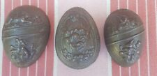LOT OF THREE 1/2 EGGS BUNNY RABBIT HASE HAIR METAL CHOCOLATE MOLD ANTIQUE