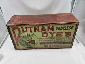 """Antique Putnam Fadeless Dyes and Tint Metal Display 21"""" x 10.5"""" x 7"""""""