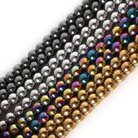 Natural Stone Black Hematite beads Round Loose beads 4/6/8/10MM /string DIY