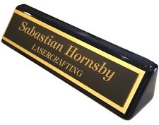 Executive Name Plate- Black Piano Finish w/gold Laser-engraved plate CUSTOMIZED
