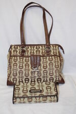 ETIENNE AIGNER Two Tone Brown Monogram Style Hobo Purse & Wallet Set-B62