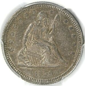 🥶🥶🔥🔥💙🤩PCGS AU55 1859 SEATED🗽 LIBERTY QUARTER