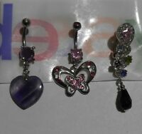 Lot of 3 Belly Button Ring Navel Set Piercing Body Jewelry Heart Butterfly