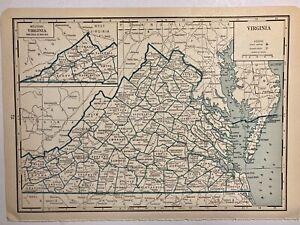 1935 Antique County Map J Thomas Co Virginia VA Richmond Chesterfield Charlotte
