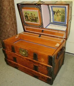 ANTIQUE STEAMER TRUNK VINTAGE VICTORIAN DOME TOP BRIDES CHEST FULL INTERIOR &KEY