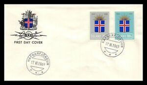 Iceland 1969 FDC, 25th Anniversary of the Republic. Lot # 4.