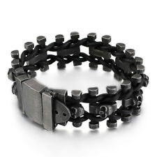 Link Chain Rope Bracelet Black 9'' 111g Vintage Mens Stainless Steel Black Skull