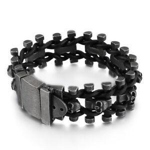111g Vintage Mens Stainless Steel Black Skull Link Chain Rope Bracelet Black 9''
