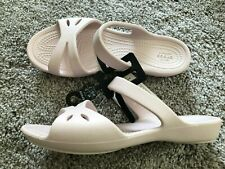 Crocs Kelli Sandals Size 5 Barely Pink Slip On Slides Shoes Flats Womens NWT!