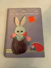 Vintage 1960's-70's Hallmark Easter Bunny Gift Trim And Tag New Never Used
