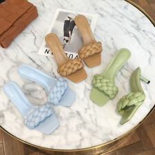 Square Toe Mid Heel Slide Slippers Knitting Mules Open Toe Sandals Blue Shoes 42