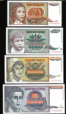 YUGOSLAVIA 10000 50000 100000 500000 DINAR 1992 1993 UNC SET P.116 117 118 119