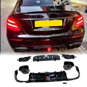 For Benz W213 E300 E400 E450 Sport Saloon 16-20 Rear Diffuser Lip W/Exhaust Tips