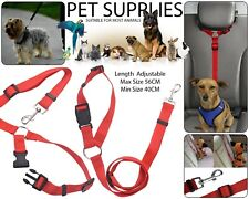 Pet Dog Car Seat Belt Safety Chiot Ajustable Lead Travel Harness Leash - Red