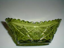 Retro Kemple Glass #49 Avocado Green HOBSTAR & FAN Oval Bowl 1950s