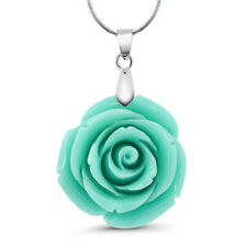 "35mm Simulated Green Coral Carved Rose Flower Pendant With 16""+2"" Extender Chain"