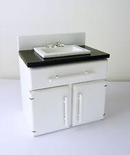Dollhouse Miniature Modern White Sink w/ Black Counter, T5450
