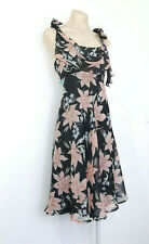 TEABERRY Dress Size 14 A-Line Chiffon Floral Black Pink