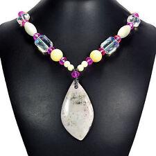 Unique Ocean Jasper, Amazonite & Jade Pendant Necklace Handmade Gemstone Jewelry