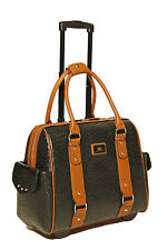 Black Ostrich Rolling iPad, Tablet or Laptop Tote Carryall Holdall Bag