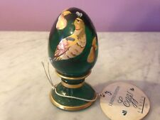 "Fenton Hand painted Green 3.5"" Egg on Stand Paperweight   g6"