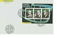 985.Italia.2010.Busta FDC.Foglietto Cinema Italiano.Fellini,Gassman,Sordi