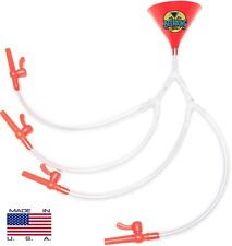 Quad Beer Bong - Red Funnel - 4 PERSON BEER BONG - MADE IN USA