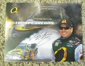 RARE TONY PEDREGON AUTO SIGNED 8 x 10 PHOTO CARD NHRA RACING SUPER SALE