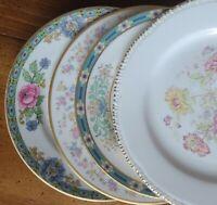 "4 Mismatched China 6"" Bread Dessert Plates Blue Pink Green Florals w/ Gold Bands"