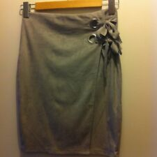 Faux Suede Supre Skirt Size XS Eyelet detail wrap look elastic waist