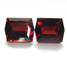 7.45Cts Ravishing Natural Red Garnet Fancy Emerald Cut Matching Pair Gemstones