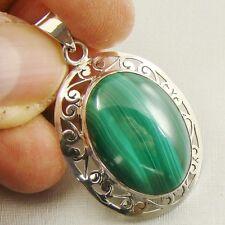 Semi-Precious GREEN MALACHITE Gemstone 925 Sterling Silver Pendant - C31
