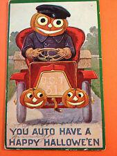 Halloween Fantasy Postcard Int'l Art, driver JOL head driving auto w/ headllight