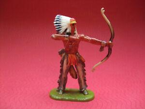 Elastolin Indianer stehend, richtig Bogen schiessend, Bemalung 1