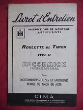livret d'entretien Mc CORMICK INTERNATIONAL roulette de timon type G CIMA 1953