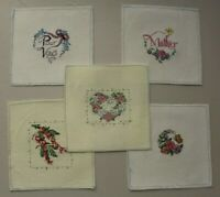Set Lot of 5 Flower Hearts Butterfly Pour Vous Cross Stitch Completed Finished