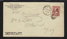 USA 1884 MUTUAL ACCIDENT ASSOCIATION COVER NEW YORK CITY