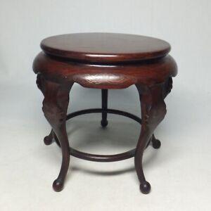 E0110: Japanese circular decorative stand of KARAKI wood with good inlay work