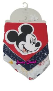 Disney Mickey Mouse Bandana Bibs Baby New Born Burp Cloth Muslins 3PK PRIMARK
