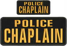 "POLICE CHAPLAIN Embroidery Patches 4 X 10"" and 2x5 Hook on back  gold"