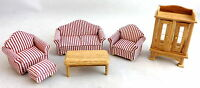 Dolls House 1:24 Scale Miniature Modern Oak Lounge Living Room Furniture Set