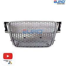 RS5 Sportback Euro Badgeless Silver/Gunmetal Sline Grille for Audi 08-12 A5/S5