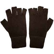 100% Alpaca Fingerless Gloves Chocolate Brown Small ~ Women Men Accessories