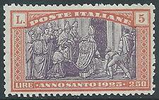 1924 REGNO ANNO SANTO 5 LIRE MNH ** - E50