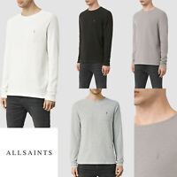 AllSaints Mens Designer Long Sleeve Crew Clash Textured All Saints Top T-shirt
