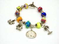 Vintage 925 Sterling Silver Glass Lamp Work Bead Toggle Beach 46g Charm Bracelet