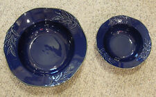 "Certified International OLIVIA Indigo 15"" & 10.5"" Serving Bowls"