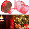 Christmas Organza Wired Edge Ribbon Craft Gift Decor Wrap Xmas Tree Party Belt