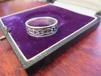Hübscher 925 Sterling Silber Ring Bandring Unisex Muster Damen Herren Modern Top
