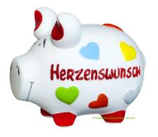 KCG Sparschwein Groß XL HERZENSWUNSCH, Spardose Geldgeschenk Geburtstag Wunsch